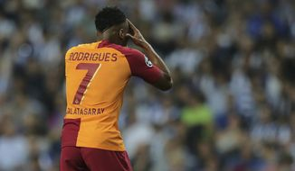 Galatasaray forward Garry Rodrigues reacts during the Champions League group D soccer match between FC Porto and Galatasaray at the Dragao stadium in Porto, Portugal, Wednesday, Oct. 3, 2018. (AP Photo/Manuel Araujo)