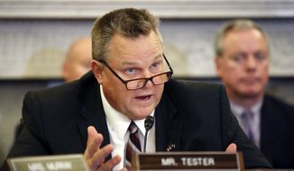 In this Wednesday, Sept. 26, 2018, file photo, Ranking Member Sen. Jon Tester, D-Mont., speaks during a hearing of the Senate Committee on Veterans' Affairs, on Capitol Hill, in Washington, D.C. (AP Photo/Alex Brandon, File)