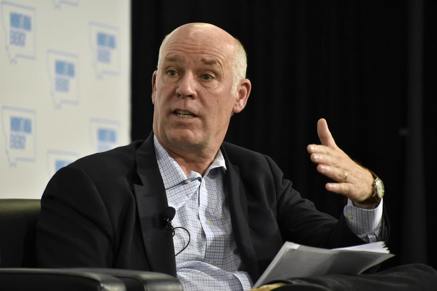 FILE - In this May 31, 2018 photo U.S. Rep. Greg Gianforte speaks about U.S. energy policy at a conference in Billings, Mont. U.S. House candidate Kathleen Williams said Gianforte was distorting her record on guns and immigration to scare Montana voters into re-electing the first-term Republican. Gianforte countered during a lively Saturday night, Oct. 6, 2018, debate that if elected, Williams would fall into line with Democrats to oppose President Donald Trump and threaten gun rights. (AP Photo/Matthew Brown, File)