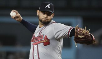 Atlanta Braves starting pitcher Anibal Sanchez throws to a Los Angeles Dodgers batter during the first inning of Game 2 of a baseball National League Division Series on Friday, Oct. 5, 2018, in Los Angeles. (AP Photo/Jae C. Hong) ** FILE **