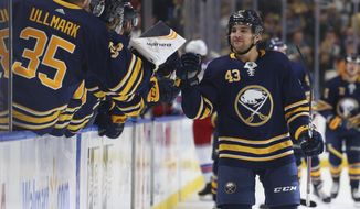 Buffalo Sabres forward Conor Sheary (43) celebrates his goal during the first period of an NHL hockey game against the New York Rangers, Saturday, Oct. 6, 2018, in Buffalo N.Y. (AP Photo/Jeffrey T. Barnes)