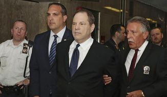 In this July 9, 2018, file photo, Harvey Weinstein is escorted in handcuffs to a courtroom in New York. The #MeToo movement has sent dozens of once-powerful men in Hollywood into exile, but it has yet to put many of them in handcuffs or courtrooms. Weinstein has been charged with sexual assault in New York and Bill Cosby has been sent to prison in Pennsylvania in the year since stories on Weinstein in The New York Times and The New Yorker set off waves of revelations of sexual misconduct in Hollywood. But those two central figures have been exceptions. (AP Photo/Richard Drew, File)