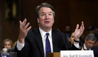 Supreme Court nominee Brett Kavanaugh testifies before the Senate Judiciary Committee on Capitol Hill in Washington, Thursday, Sept. 27, 2018. (AP Photo/Andrew Harnik, Pool) ** FILE **