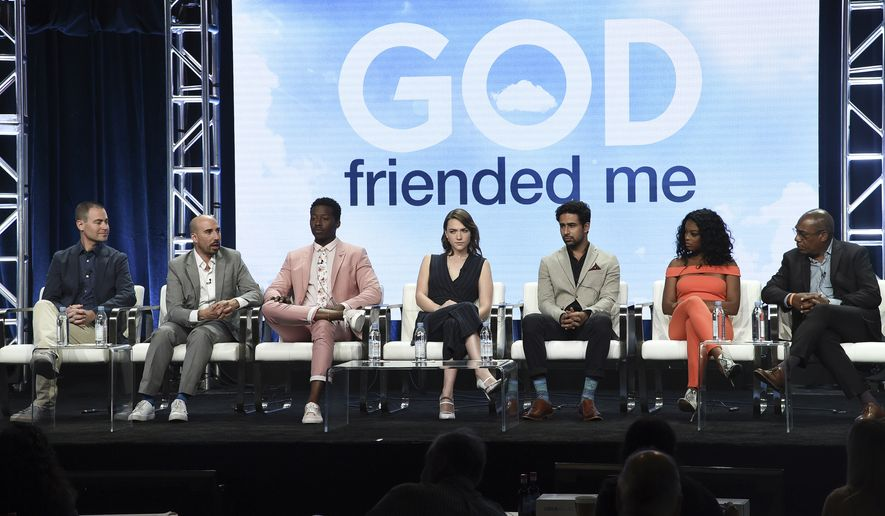 "From left: Steven Lilien, Bryan Wynbrandt, Brandon Michael Hall, Violett Beane, Suraj Sharma, Javicia Leslie and Joe Morton participated in a ""God Friended Me"" panel during the Television Critics Association Summer Press Tour in August. (Associated Press/File)"