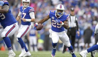 Buffalo Bills running back LeSean McCoy (25) runs with the ball during the first half of an NFL football game against the Tennessee Titans, Sunday, Oct. 7, 2018, in Orchard Park, N.Y. (AP Photo/Adrian Kraus) ** FILE **
