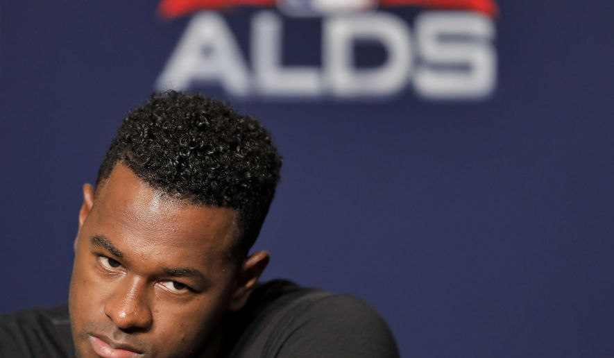 New York Yankees starting pitcher Luis Severino answers questions during a news conference, Sunday, Oct. 7, 2018, in New York. The Yankees will play against the Boston Red Sox in Game 3 of the AL Division Series on Monday. (AP Photo/Julie Jacobson)