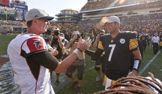 Pittsburgh Steelers quarterback Ben Roethlisberger (7) greets Atlanta Falcons quarterback Matt Ryan (2) after an NFL football game, Sunday, Oct. 7, 2018, in Pittsburgh. (AP Photo/Don Wright)
