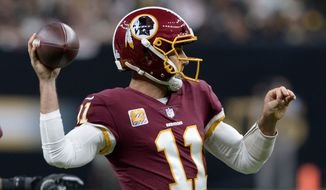 Washington Redskins quarterback Alex Smith (11) passes in the first half of an NFL football game against the New Orleans Saints in New Orleans, Monday, Oct. 8, 2018. (AP Photo/Bill Feig) ** FILE **