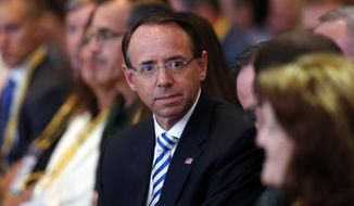 Deputy Attorney General Rod Rosenstein is seated in the audience before President Donald Trump speaks at the International Association of Chiefs of Police annual conference, Monday, Oct. 8, 2018, in Orlando, Fla. (AP Photo/Alex Brandon)