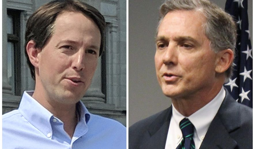 FILE - This combination of 2018 file photos shows Arkansas Congressional candidates, Democrat Clarke Tucker, left, and Republican U.S. Rep. French Hill. Tucker and Hill face off Monday, Oct. 8, 2018, in their only debate in the race for a central Arkansas seat that includes Little Rock. (AP Photos/File)