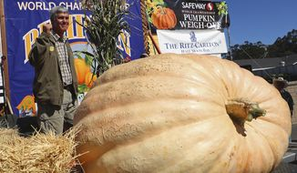 Steve Daletas of Pleasant Hill, Ore., celebrates his first place win in the 45th annual Safeway World Championship Pumpkin Weigh-Off on Monday, Oct. 8, 2018, in Half Moon Bay, Calif. A commercial pilot from Oregon raised a giant pumpkin weighing 2,170 pounds (984 kilograms) to win a pumpkin-weighing contest in Northern California. Daletas credited a good seed and lots of sunny days since he planted it April 15. It is the fourth time Daleta takes top honors at the annual pumpkin-weighing contest. (Aric Crabb/Bay Area News Group via AP)