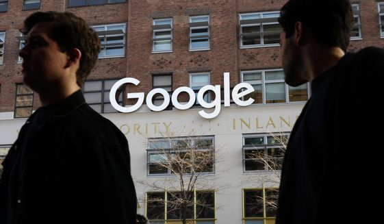 In this Dec. 4, 2017, file photo, people walk by Google offices in New York. Google is closing the consumer version of its long-spurned Plus social network after discovering a bug earlier this year that leaked some of the personal information about up to 500,000 people who still have accounts on the dying service. (AP Photo/Mark Lennihan) ** FILE **