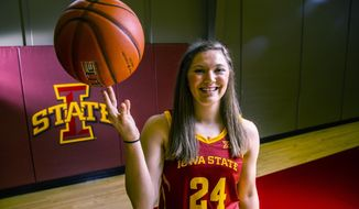 Iowa State's Ashley Joens poses for a photo on Iowa State Women's basketball media day for the 2018-2019 season on Monday, Oct. 8, 2018, at the Sukup Basketball Complex in Ames, Iowa. (Kelsey Kremer/The Des Moines Register via AP)