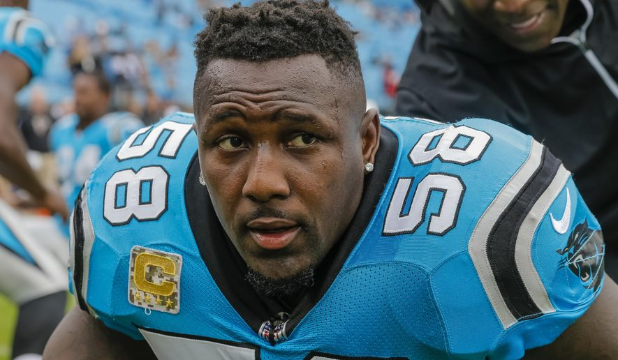 In this Nov. 5, 2017, file photo, Carolina Panthers' Thomas Davis gets ready for the team's NFL football game against the Atlanta Falcons in Charlotte, N.C.  (AP Photo/Bob Leverone, File)  **FILE**