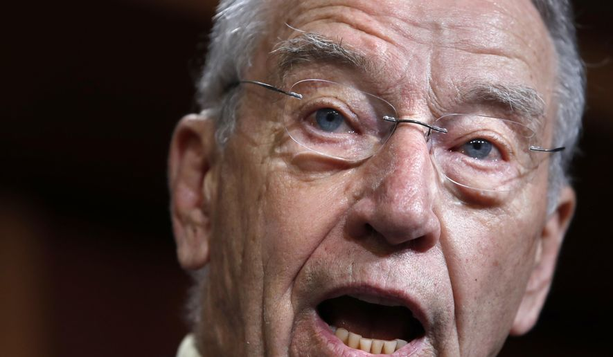 Senate Judiciary Committee Chairman Sen. Chuck Grassley, R-Iowa, speaks about the FBI investigation of Supreme Court nominee Brett Kavanaugh, Thursday, Oct. 4, 2018, on Capitol Hill in Washington. (AP Photo/Jacquelyn Martin) **FILE**