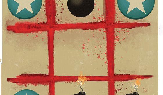 Illustration on U.S. anti-terrorism strategy by Linas Garsys/The Washington Times
