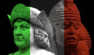 Illustration on Columbus Day controversies by Alexander Hunter/The Washington Times