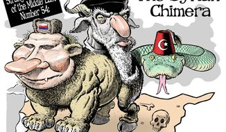 The Syrian Chimera (Illustration by Alexander Hunter for The Washington Times)