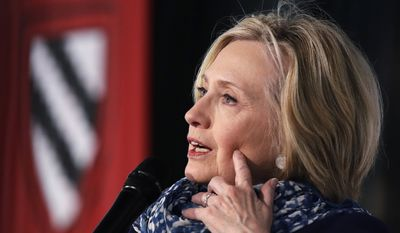 In a Friday, May 25, 2018, file photo, Hillary Clinton answers a question at Harvard University in Cambridge, Mass. (AP Photo/Charles Krupa, File)