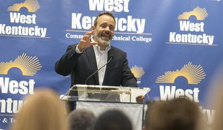 Kentucky Governor Matt Bevin speaks at West Kentucky Community and Technical College in Paducah on Tuesday, Oct. 9, 2018. Bevin joined Don Parkinson, secretary of the Tourism, Arts and Heritage Cabinet, along with state and local officials at the college to announce a partnership that will create a market-driven solution for mitigating the impact of Asian Carp in Kentucky's waterways. (Ellen O'Nan/The Paducah Sun via AP)