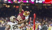 PJ Wiliams breaks up a pass to Redskins receiver Jamison Crowder as the New Orleans Saints take on the Washington Redskins during Monday Night Football at the Mercedes-Benz Superdome, Monday, Oct. 8, 2018. The Saints won 43-19. (The Daily Advertiser via AP)