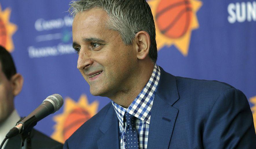 FILE - In this May 14, 2018, file photo, Phoenix Suns head coach Igor Kokoskov speaks to the media, in Phoenix. Kokoskov, of Serbia, is the first NBA head coach born and raised outside North America.  (AP Photo/Matt York)