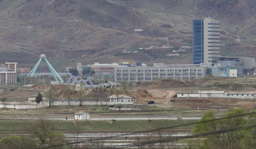 In this April 24, 2018, file photo, the Kaesong industrial complex in North Korea is seen from the Taesungdong freedom village inside the demilitarized zone during a press tour in Paju, South Korea. South Korea's Unification Ministry on Wednesday, Oct. 10, 2018, said the water is being supplied to a liaison office between the countries that opened in Kaesong in September 2018 and has been provided to the town's residents as well. (AP Photo/Lee Jin-man, File)