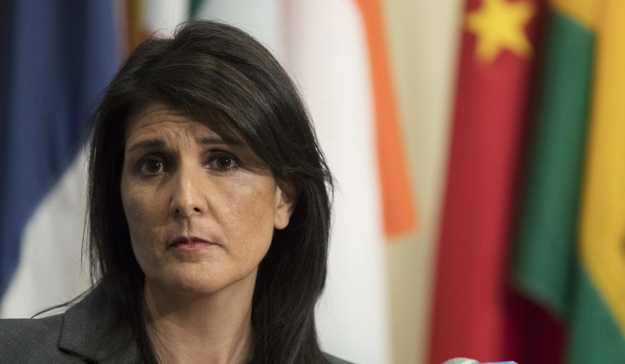 In this Jan. 2, 2018, file photo, U.S. Ambassador to the United Nations Nikki Haley speaks to reporters at United Nations headquarters. (AP Photo/Mary Altaffer)