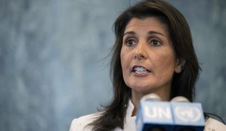 In this July 20, 2018, file photo, U.S. Ambassador to the United Nations Nikki Haley speaks to reporters at United Nations headquarters. (AP Photo/Mary Altaffer, File)