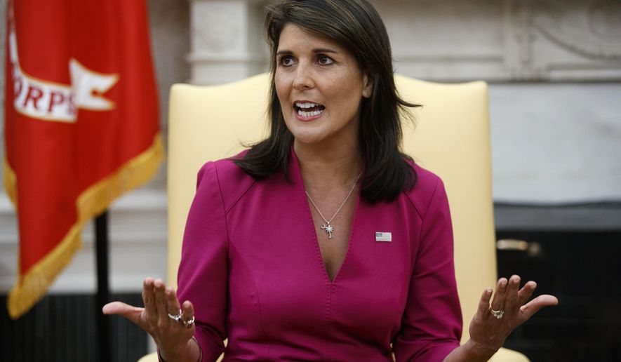 Outgoing U.S. Ambassador to the United Nations Nikki Haley speaks during a meeting with President Donald Trump in the Oval Office of the White House, Tuesday, Oct. 9, 2018, in Washington. (AP Photo/Evan Vucci)