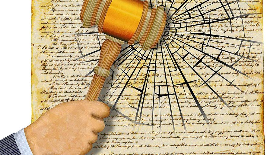 Adjudicating the Constitution Illustration by Greg Groesch/The Washington Times