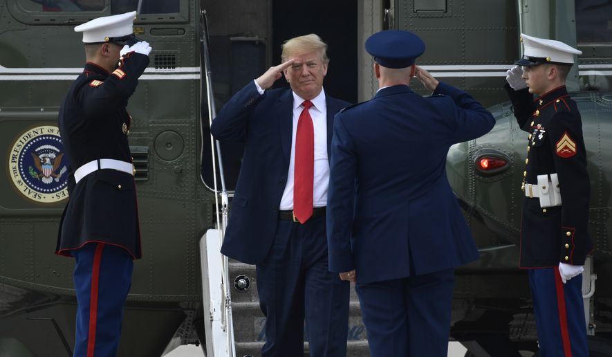 President Donald Trump salutes as he steps off of Marine One at Andrews Air Force Base in Md., Monday, June 25, 2018. Trump is traveling to West Columbia, S.C., to campaign for Republican Gov. Henry McMaster, returning the favor after McMaster provided Trump with an early endorsement in his presidential campaign. (AP Photo/Susan Walsh)