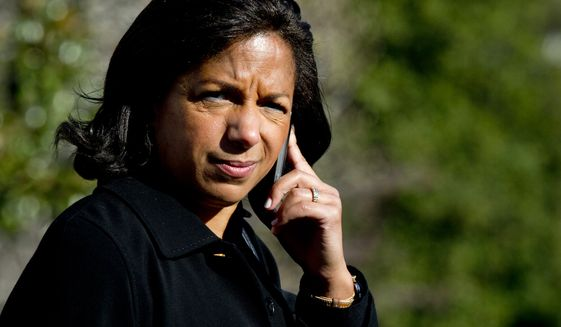 Then-National Security Adviser Susan Rice walks to Marine One on the South Lawn at the White House in Washington, Saturday, Nov. 14, 2015, for a short trip to Andrews Air Force Base with President Barack Obama to travel to Antalya, Turkey, to participate in the G-20 Leaders Summit starting Sunday. (AP Photo/Manuel Balce Ceneta) ** FILE **