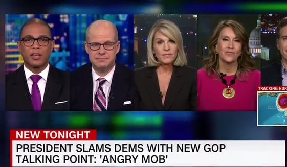 "A CNN panel discusses what constitutes ""mob"" behavior, Oct. 9, 2018. (Image: CNN screenshot)"