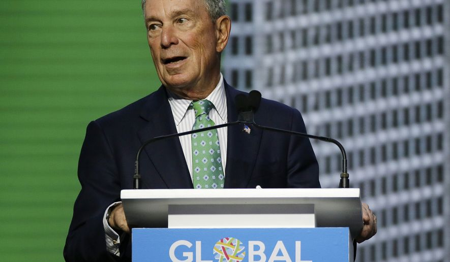 FILE - In this Sept. 13, 2018, file photo, Michael Bloomberg, the UN Secretary-General's Special Envoy for Climate Action, speaks during the plenary session of the Global Action Climate Summit in San Francisco. The global media company founder on Wednesday, Oct. 10, 2018 said he has registered as a Democrat, which would be especially significant if he decides to challenge President Donald Trump in 2020.  (AP Photo/Eric Risberg, File)