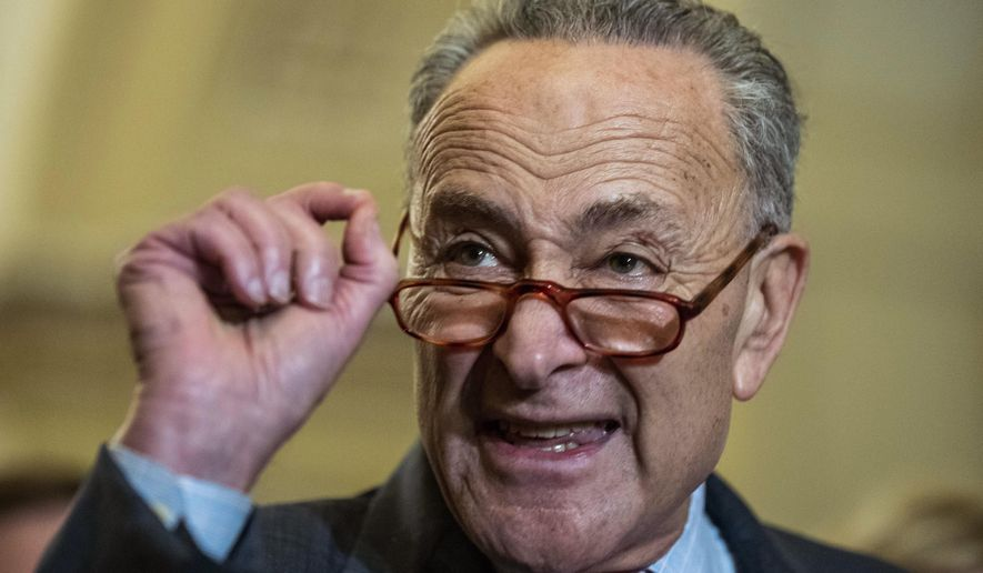 Senate Minority Leader Chuck Schumer of N.Y., speaks after the Democratic policy luncheon on Capitol Hill, Wednesday, Oct. 10, 2018 in Washington. Senate Democrats briefly turned the chamber's subject to health care Wednesday, just four days after lawmakers' nasty war over confirming Supreme Court Justice Brett Kavanaugh. And while Democrats lost the vote, they hope they've gained a message that will bolster their chances of winning Senate control in next month's elections. (AP Photo/Alex Brandon)