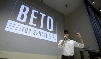 In this Tuesday, Oct. 2, 2018 photo, Democratic Senate candidate Rep. Beto O'Rourke makes a campaign stop at Austin Community College Eastview, in Austin, Texas. O'Rourke has risen to national prominence on a workaday image that aligns closely with his politics but not his family's actual finances. (AP Photo/Eric Gay)