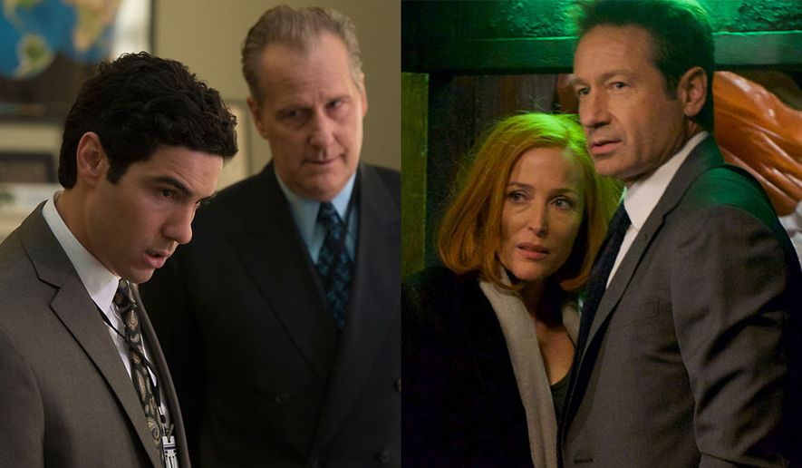 """Tahar Rahim as Ali Soufan and Jeff Daniels as John O'Neill in """"The Looming Tower"""" and Gillian Anderson as Dana Scully and David Duchovny as Fox Mulder in """"X-Files: The Complete Season 11,"""" now available on Blu-ray."""