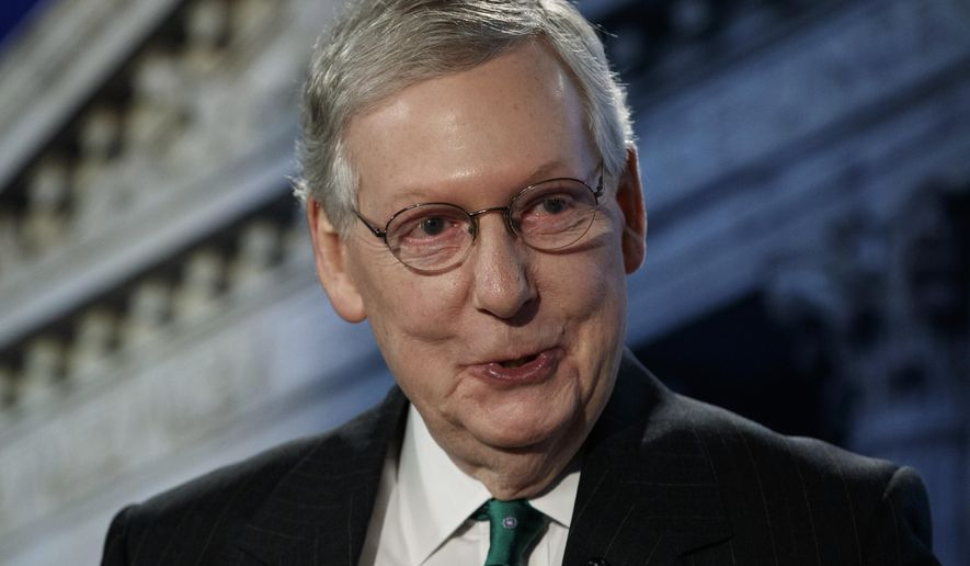 Senate Majority Leader Mitch McConnell of Ky., speaks during an interview at The Associated Press in Washington, Wednesday, Oct. 10, 2018. (AP Photo/Carolyn Kaster)