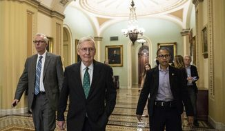 Senate Majority Leader Mitch McConnell of Ky., center, walks before the Republican policy luncheon on Capitol Hill, Wednesday, Oct. 10, 2018 in Washington. (AP Photo/Alex Brandon)