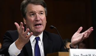 FILE - In this Sept. 27, 2018, file photo, then Supreme Court nominee Brett Kavanaugh testifies before the Senate Judiciary Committee on Capitol Hill in Washington. Chief Justice John Roberts is referring complaints against new Supreme Court Justice Brett Kavanaugh to federal judges in Colorado and neighboring states. (AP Photo/Andrew Harnik, File, Pool)