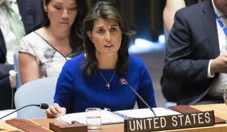 In this Aug. 28, 2018, file photo, American Ambassador to the United Nations Nikki Haley speaks during a Security Council meeting on the situation in the Myanmar at United Nations headquarters. (AP Photo/Mary Altaffer, File)