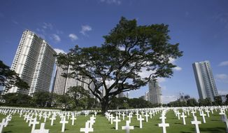 In this Nov. 11, 2012, file photo, rows of crosses totaling 16,933 Latin crosses, 164 Stars of David and 3,740 unknowns, dot the 152-acre American Cemetery on U.S. Veterans Day at the American Cemetery at suburban Taguig city, east of Manila, Philippines. (AP Photo/Bullit Marquez, File) **FILE**