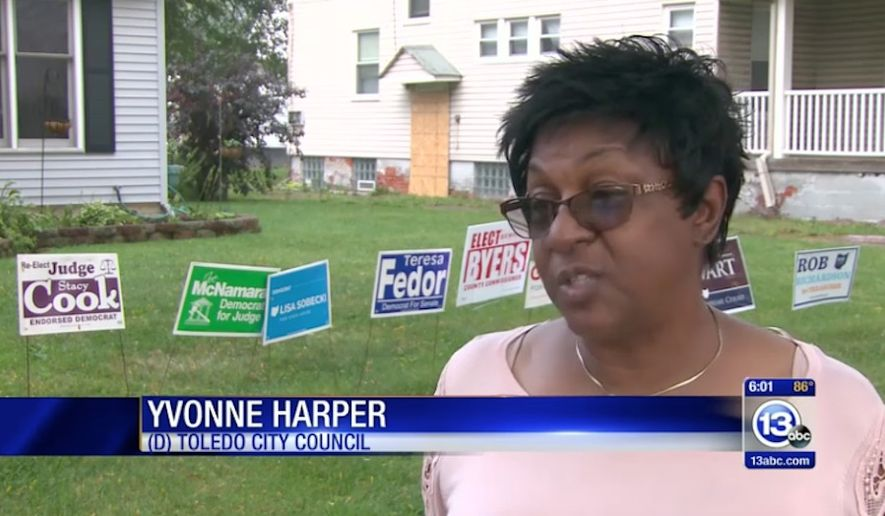 """Toledo City Councilwoman Yvonne Harper is defending herself after a meme she posted on social media calling red states """"Dumbf--kistan"""" sparked outrage. (WTVG)"""