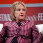 Former Secretary of State Hillary Clinton talks with Jeffrey Goldberg, editor in chief of The Atlantic, during The Atlantic Festival, Tuesday, Oct. 2, 2018, in Washington. (AP Photo/Alex Brandon) ** FILE **
