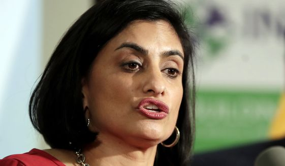 In this Nov. 29, 2017, file photo, Seema Verma, administrator of the Centers for Medicare and Medicaid Services, speaks during a news conference in Newark, N.J. (AP Photo/Julio Cortez) ** FILE **