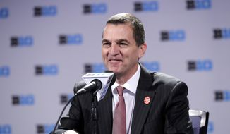 Maryland head coach Mark Turgeon smiles as he speaks at a press conference during Big Ten NCAA college basketball media day Thursday, Oct. 11, 2018, in Rosemont, Ill. (AP Photo/Nam Y. Huh) **FILE**