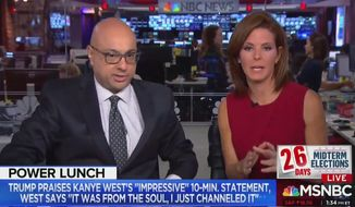 "MSNBC's Stephanie Ruhle and Ali Velshi discussed Kanye West's ""assault on our White House"" after his meeting with President Trump, Oct. 11, 2018. (Image: MSNBC screenshot)"