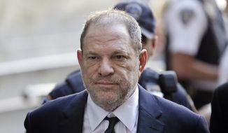 In this June 5, 2018, file photo, Harvey Weinstein arrives at court in New York. Weinstein is set to appear before a New York judge as his lawyers try to get the charges dismissed in his criminal case. Judge James Burke is expected to issue rulings Thursday on defense motions assailing an indictment accusing Weinstein of rape and sexual assault. (AP Photo/Seth Wenig, File)