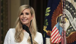 Ivanka Trump introduces her father President Donald Trump during the Interagency Task Force to Monitor and Combat Trafficking in Persons annual meeting at the Eisenhower Executive Office Building on the White House complex in Washington, Thursday, Oct. 11, 2018. (AP Photo/Manuel Balce Ceneta) ** FILE **